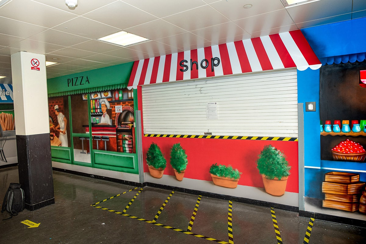 Pizza and shops wall mural