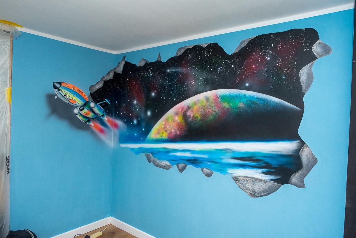 hand painted galaxy wall mural