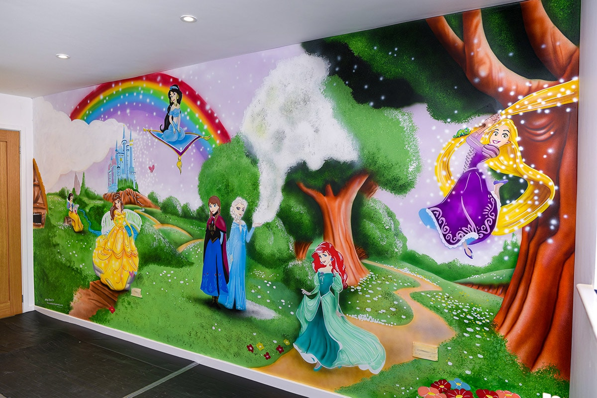 Magical wall mural Disney Princess with castle