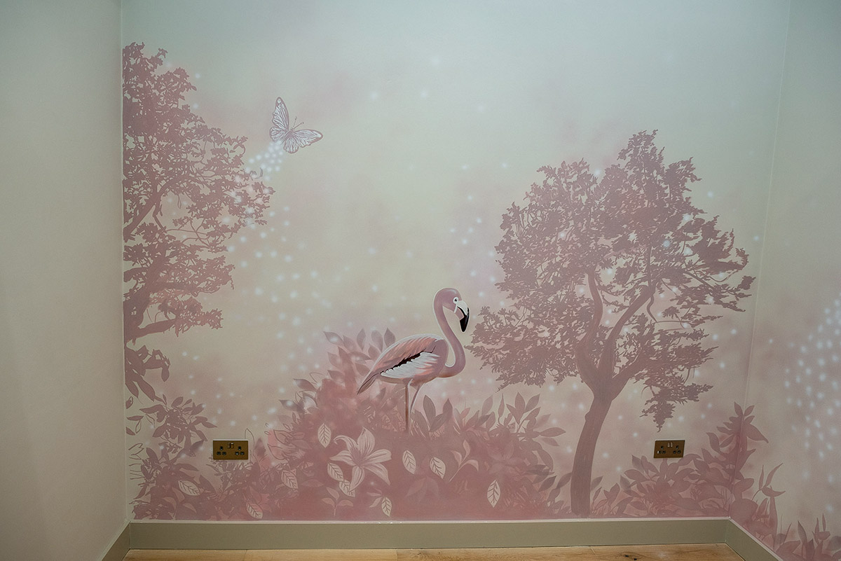 Wonderful pink flamingo with pink trees wall mural