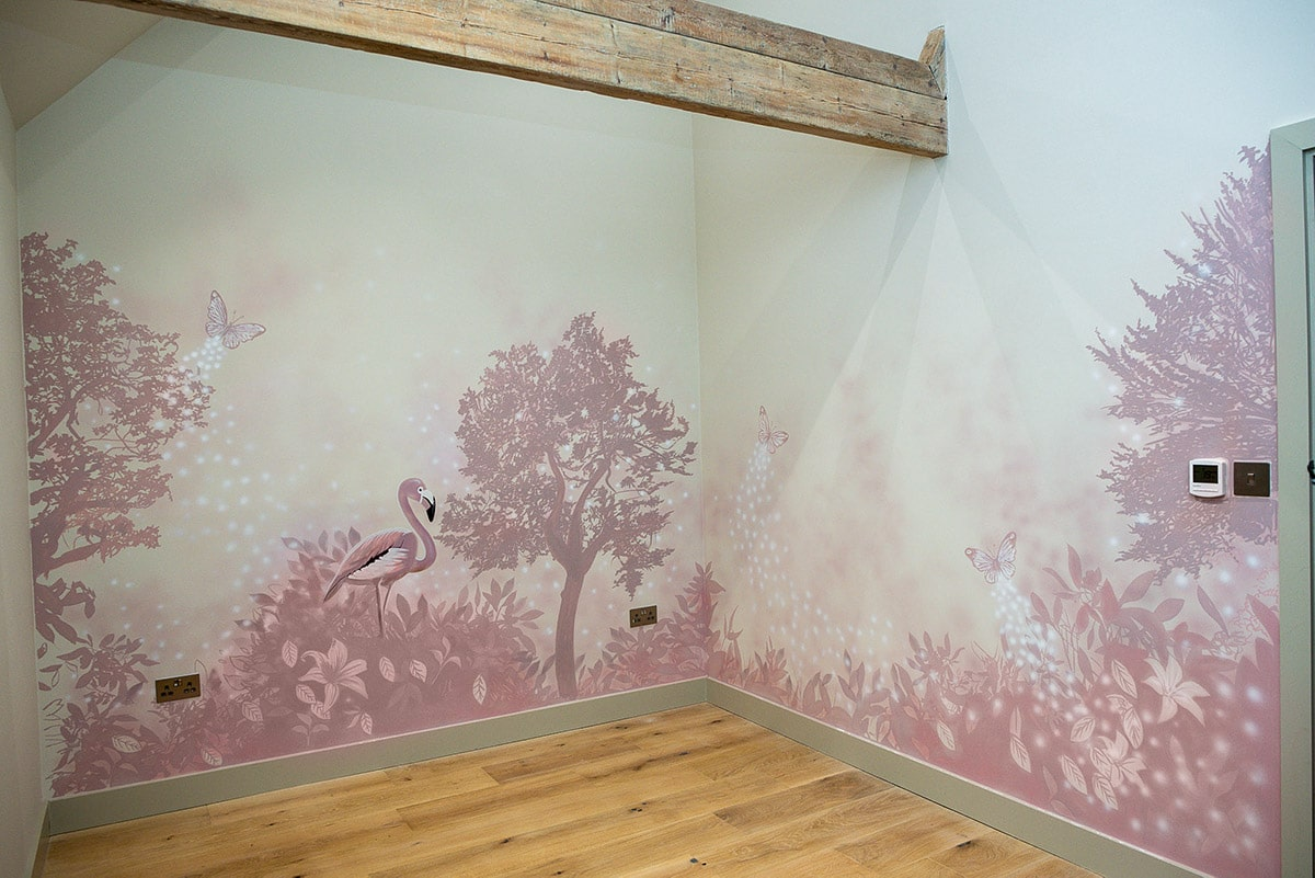 Beautiful view of trees with pink flamingo and butterflies mural