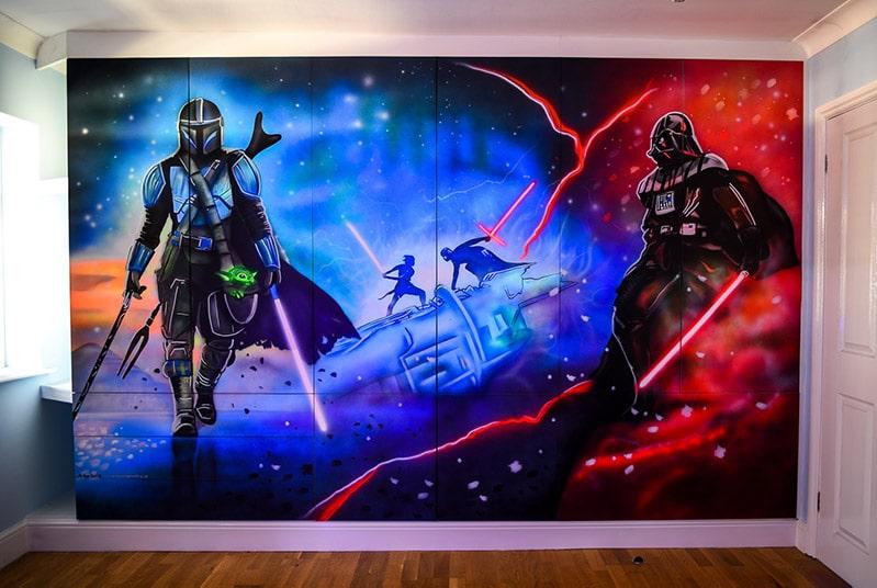 Star Wars mural glowing in the dark