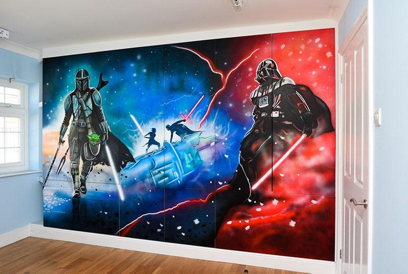 Star Wars Wall Mural Mandalorian and Vader