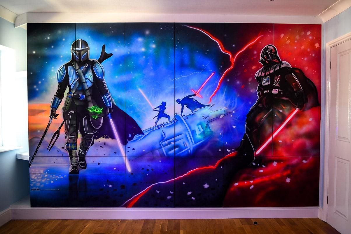 Star Wars Wall Mural glowing in the dark