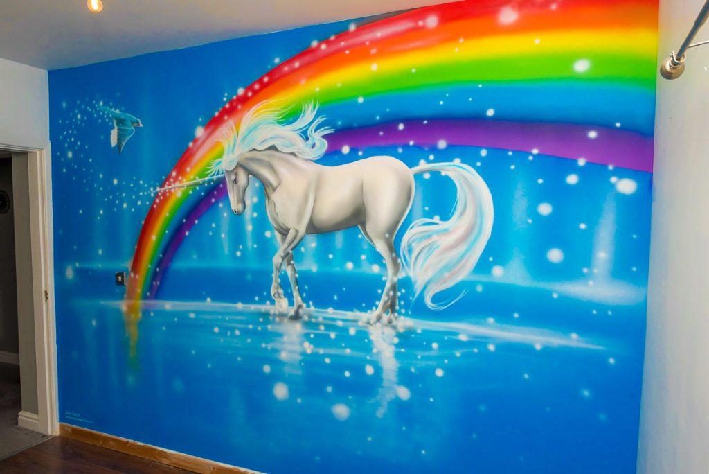 Hand painted murals Unicorn with beautiful rainbow hand painted wall mural