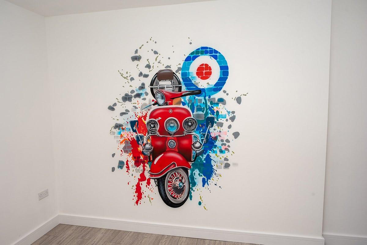 Red Vespa mural