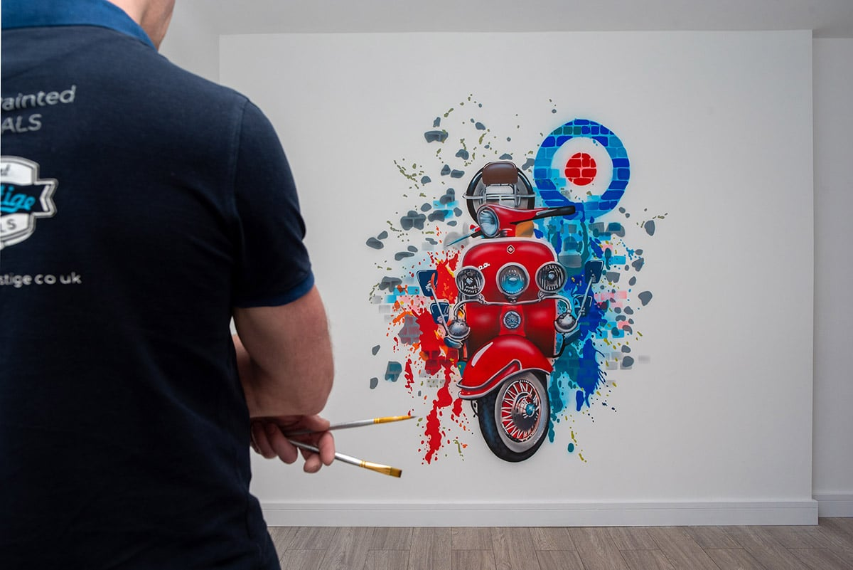 Red Vespa Hand Painted murals with artist