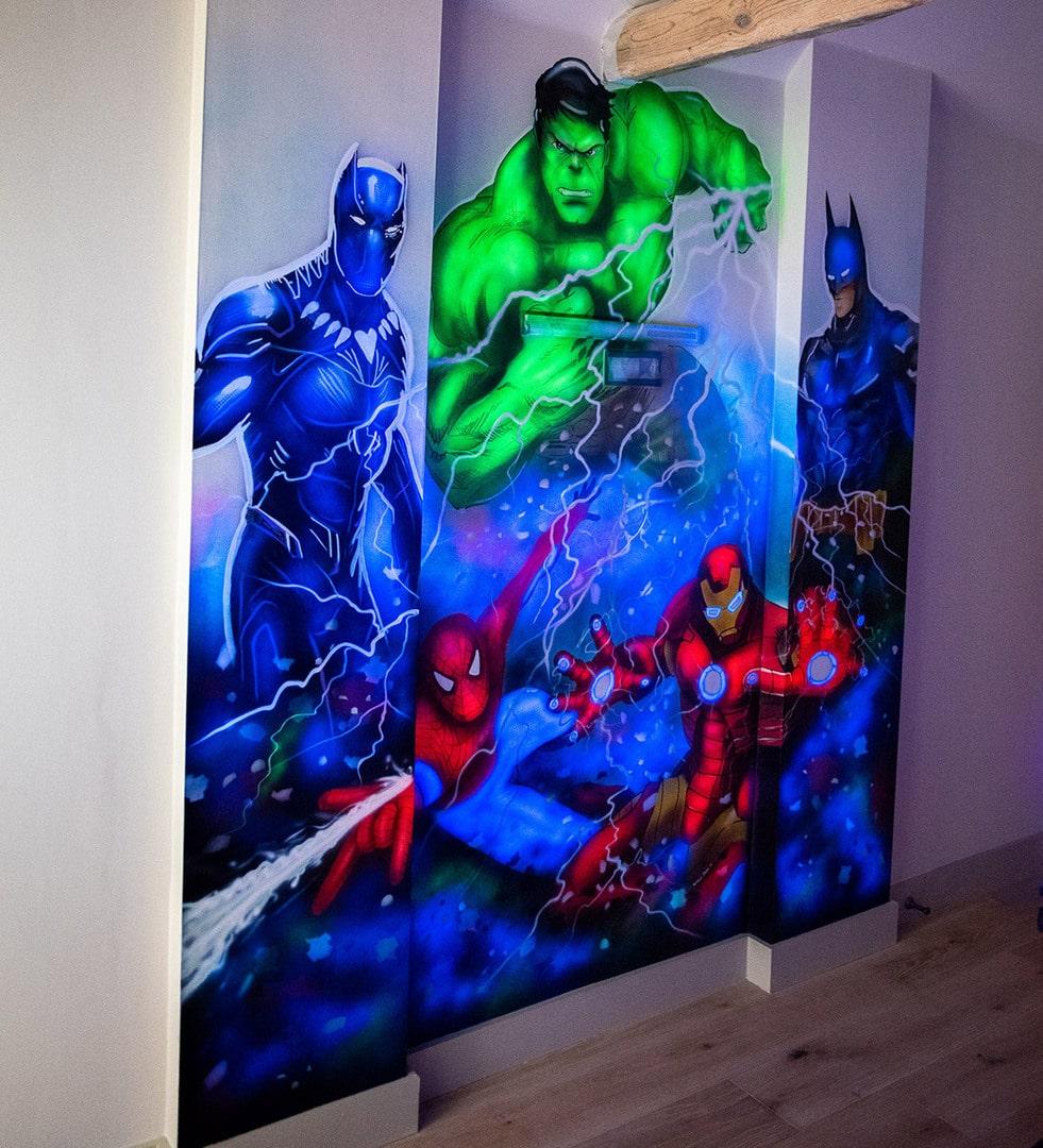 Light in dark Avengers Hand Painted wall mural