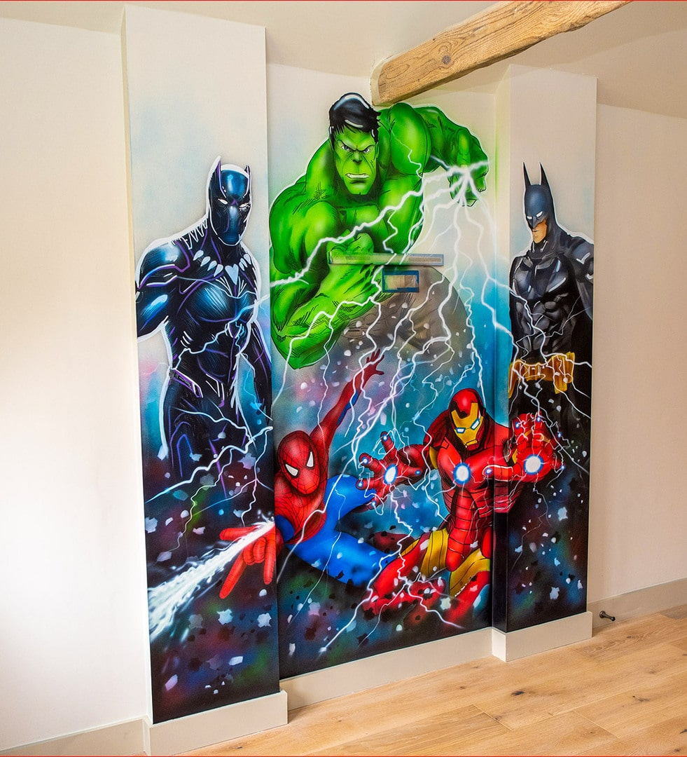 Avengers and Batman Hand Painted wall mural
