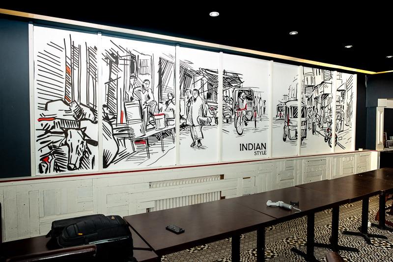 Restaurant wall art mural
