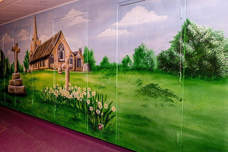 Beautiful church wall mural