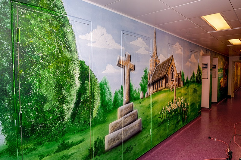 Church hand painted mural on the wall