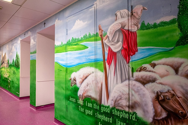 Jesus Christ and his ship hand painted wall mural