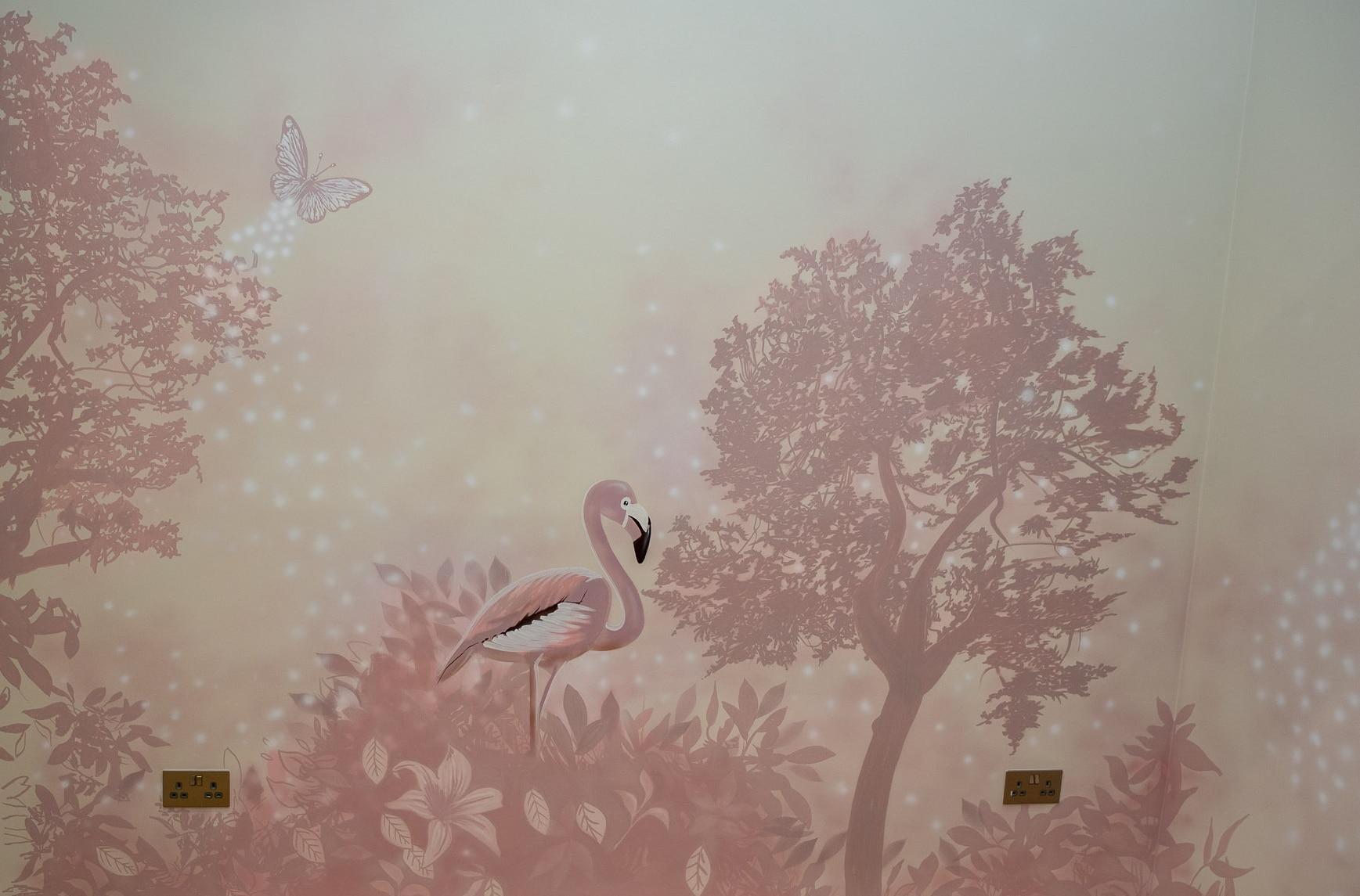 Beautiful pinky flamingo mural