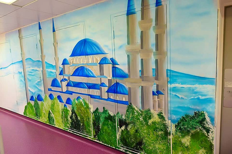 Beginning of blue mosque hand painted mural