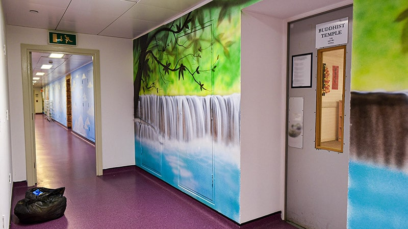 Waterfall hand painted mural on the wall