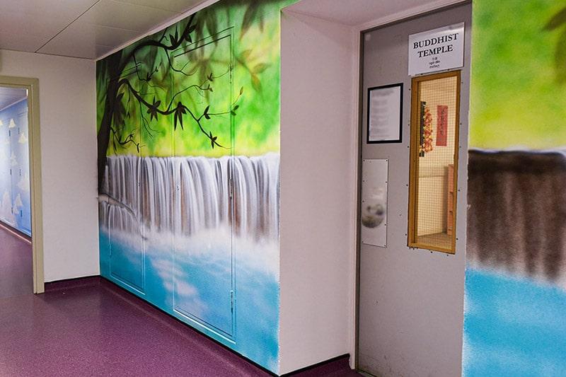 Beautiful waterfall mural on the wall