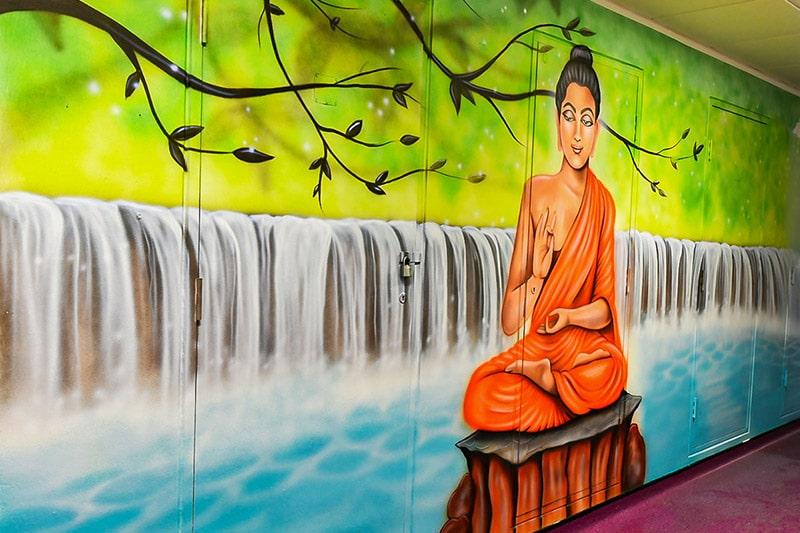 Hand painted mural of Buddha