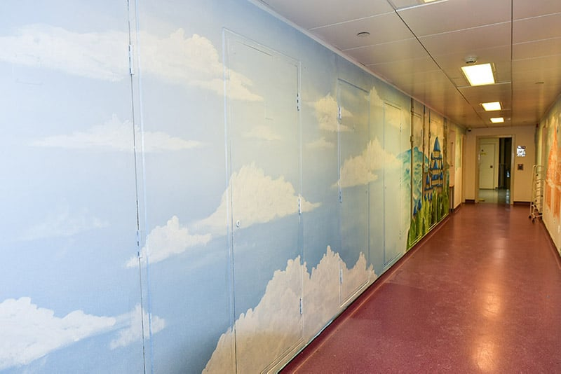 Long corridor sky mural
