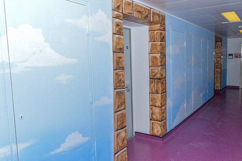 Sky faith corridor mural