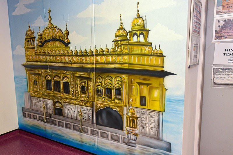 Golden temple hand painted mural