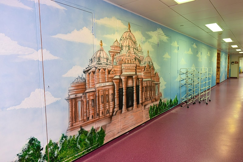 Beautiful temple hand painted mural