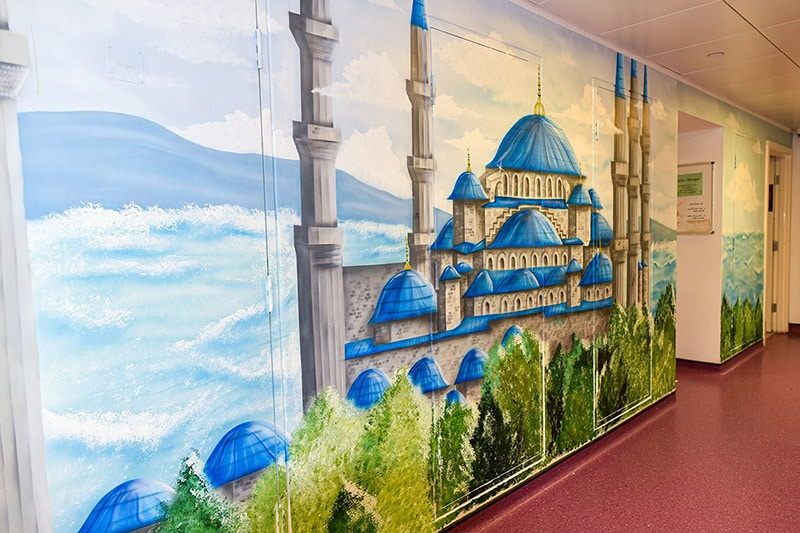 Beautiful blue mosque hand painted mural